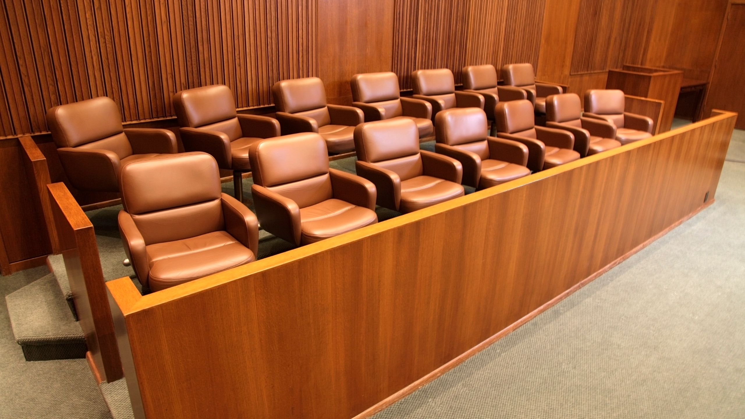 A courtroom jury box is seen in an undated file photo. (Getty Images)