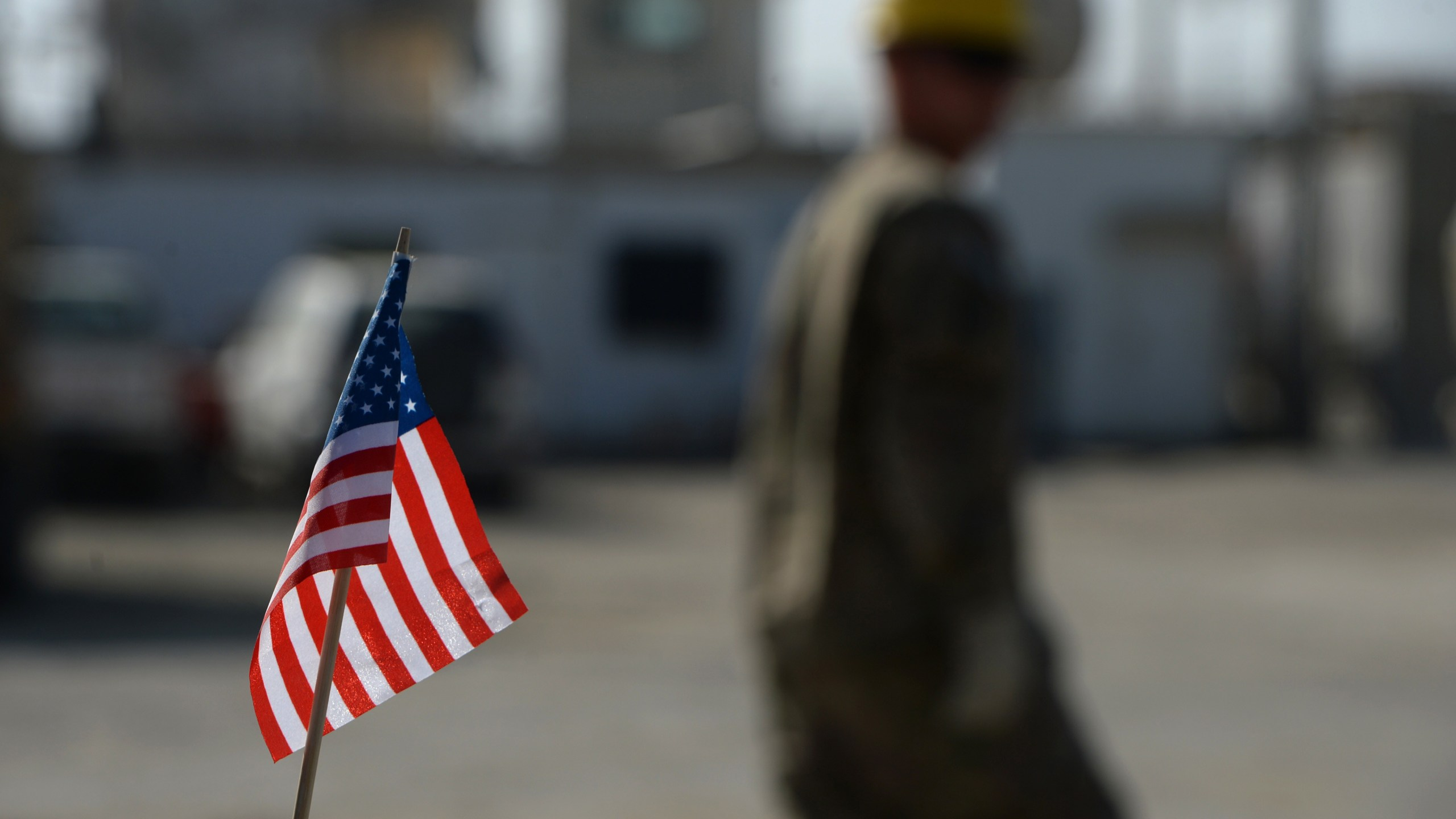 In this November 2014 photo, a U.S. flag is pictured at Bagram Air Base north of Kabul, near where U.S. forces say three U.S. soldiers and a contractor were killed. (Credit: Wakil Kohsar / AFP/Getty Images)