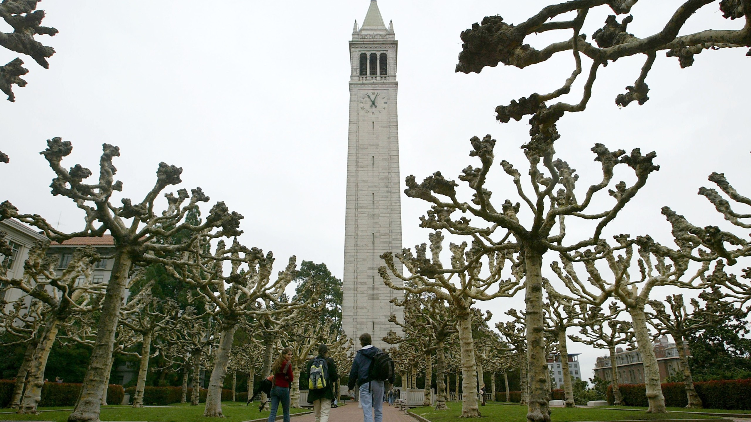 Students walk near Sather Tower on the University of California at Berkeley campus on Feb. 24, 2005. in Berkeley, California. (Credit: Justin Sullivan/Getty Images)
