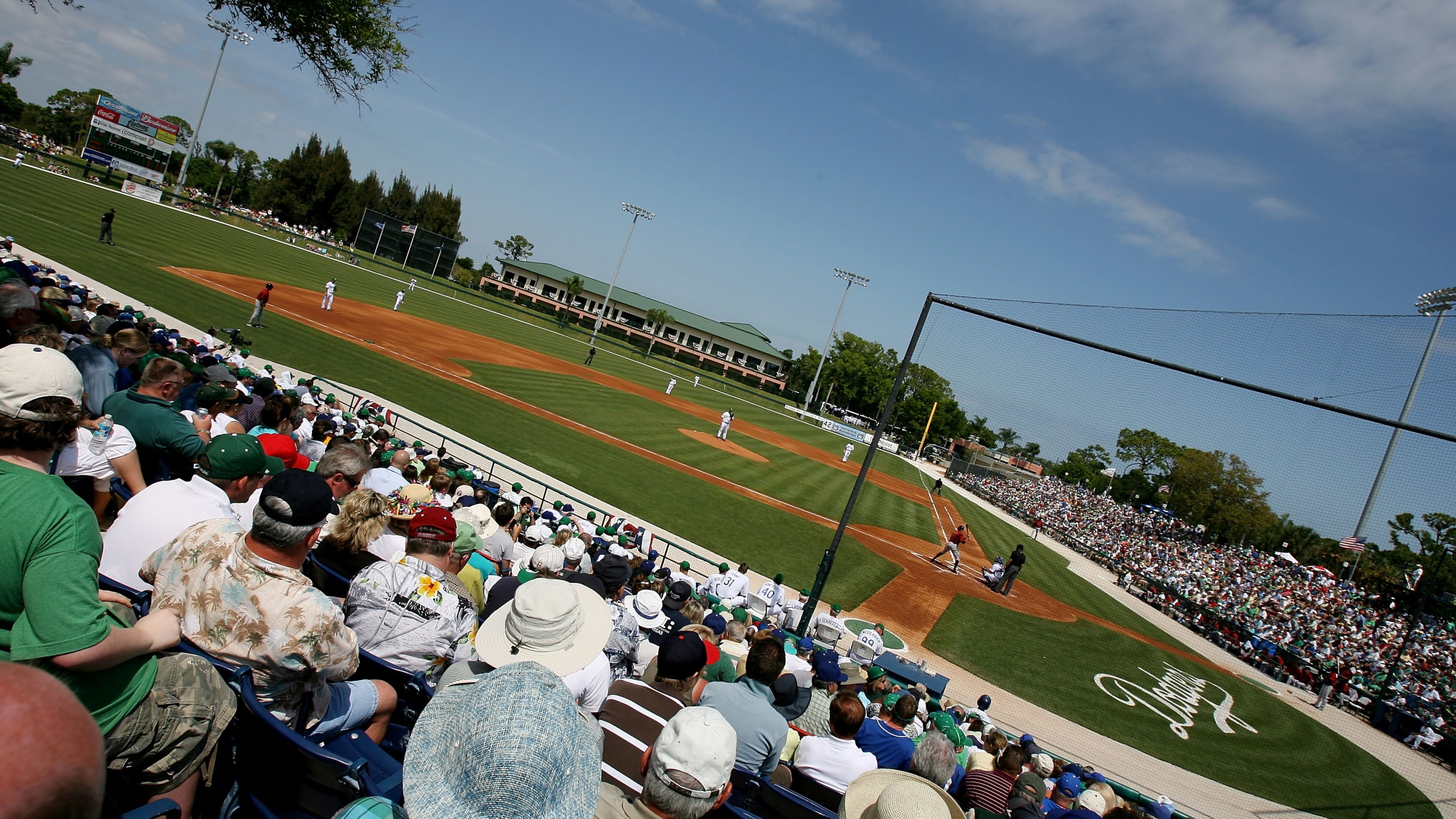 A veiw from up high as the Houston Astros take on the Los Angeles Dodgers during spring training in the last game played by the Dodgers in Dodgertown before moving to Arizona, March 17, 2008 in Vero Beach, Florida. (Credit: Doug Benc / Getty Images)