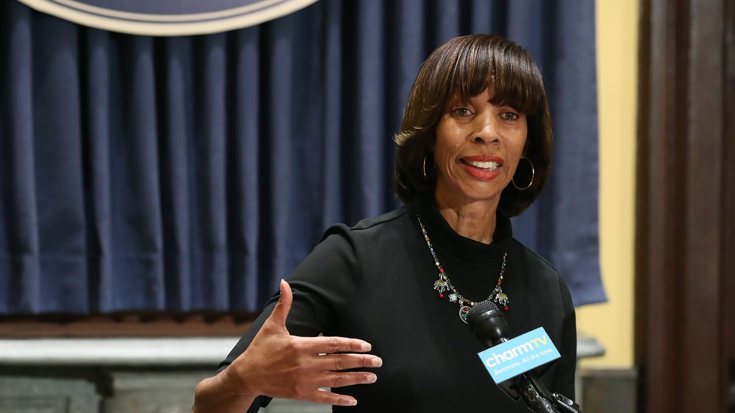 Baltimore Mayor Catherine Pugh speaks at a news conference on August 16, 2017 in Baltimore, Maryland. (Credit: Mark Wilson/Getty Images)