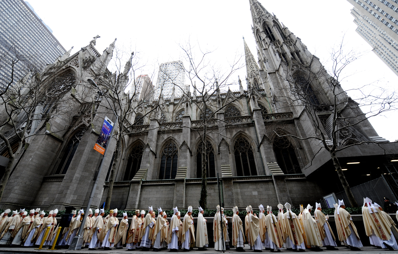 Religious leaders line E 51st St in the procession to the church where Archbishop Timothy Dolan is to perform his first service during his Mass of Installation at St. Patrick's Cathedral in New York City on April 15, 2009. (Credit: Susan Watts / Getty Images)