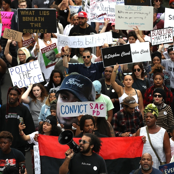 Black Lives Matter protesters take to the streets during a march and demonstration on April 4, 2018 in Sacramento. (Credit: Justin Sullivan/Getty Images)
