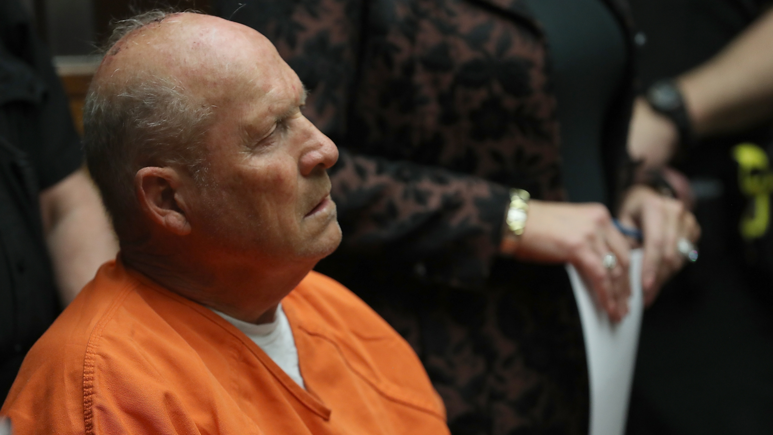Joseph James DeAngelo, the suspected Golden State Killer, appears in court in Sacramento for his arraignment on April 27, 2018. (Justin Sullivan / Getty Images)