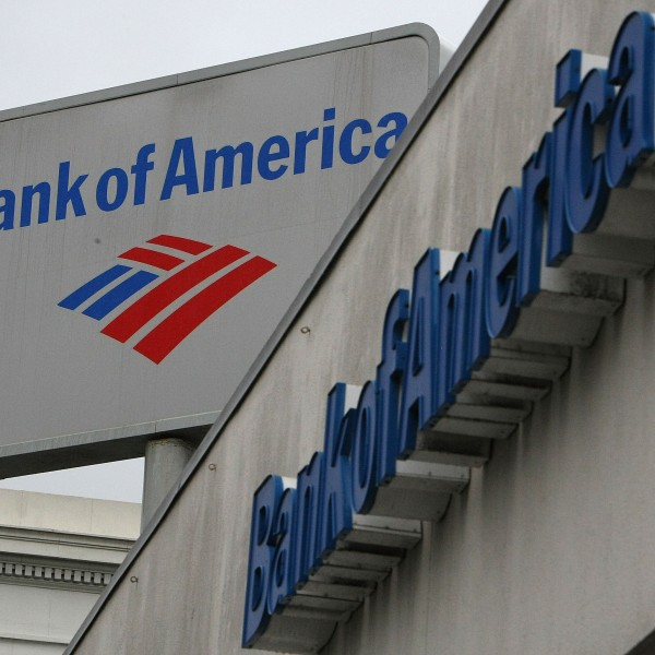 The Bank of America logo is displayed on the side of a Bank of America branch office on Jan. 20, 2010 in San Francisco. (Credit: Justin Sullivan/Getty Images)