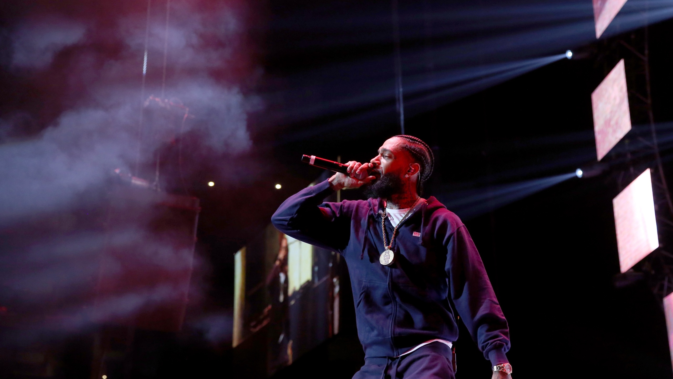 Nipsey Hussle performs onstage at the Staples Center on June 23, 2018, in Los Angeles. (Credit: Bennett Raglin/Getty Images for BET)