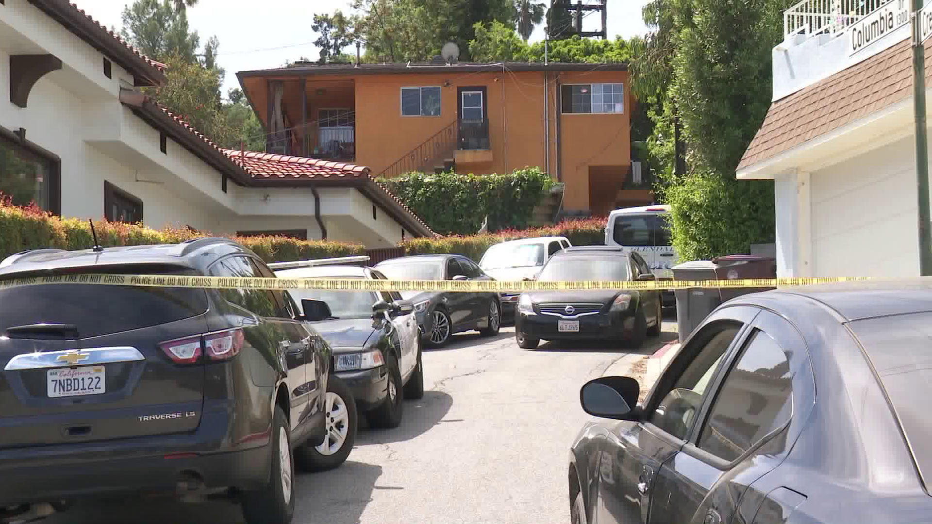 A home where three men were found dead in Glendale is shown during an ongoing homicide investigation on April 18, 2019. (Credit: KTLA)