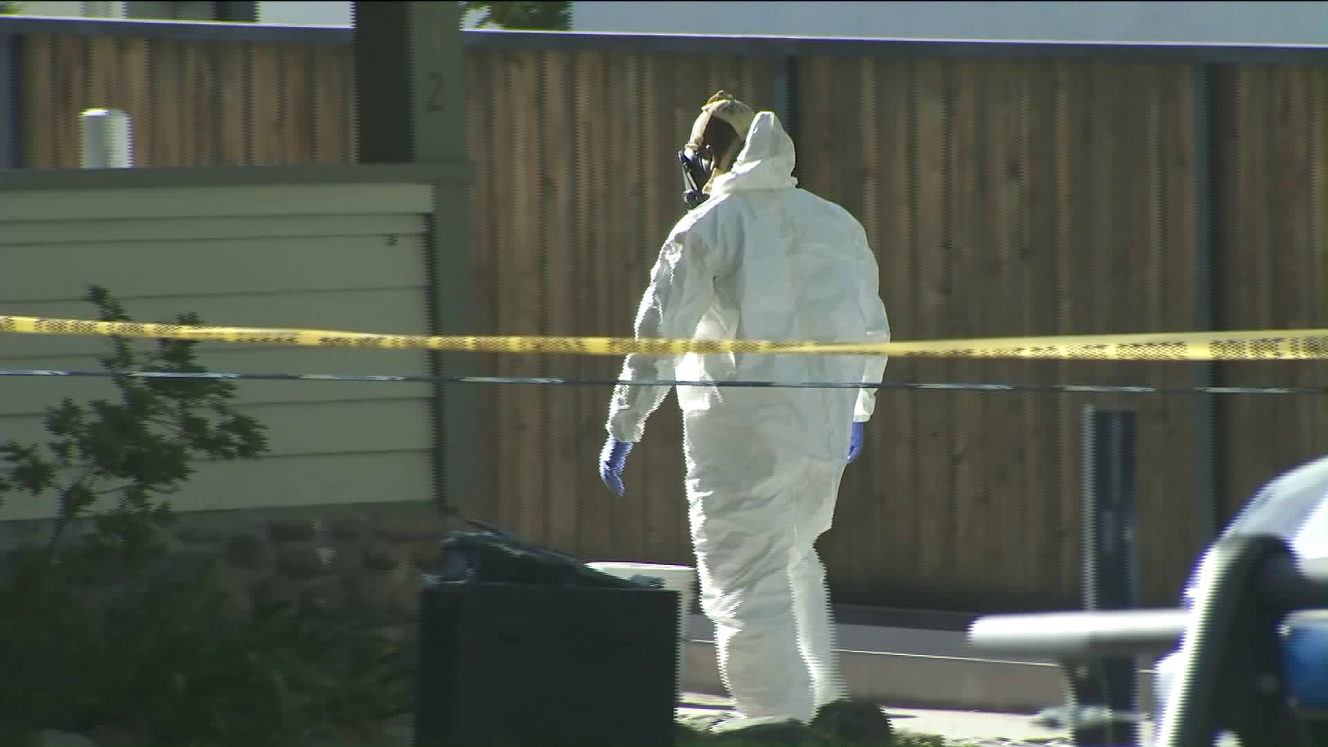 A hazmat crew removed chemicals believed to be used in the manufacture of illegal drugs from a home in Monrovia on April 24, 2019. (Credit: KTLA)