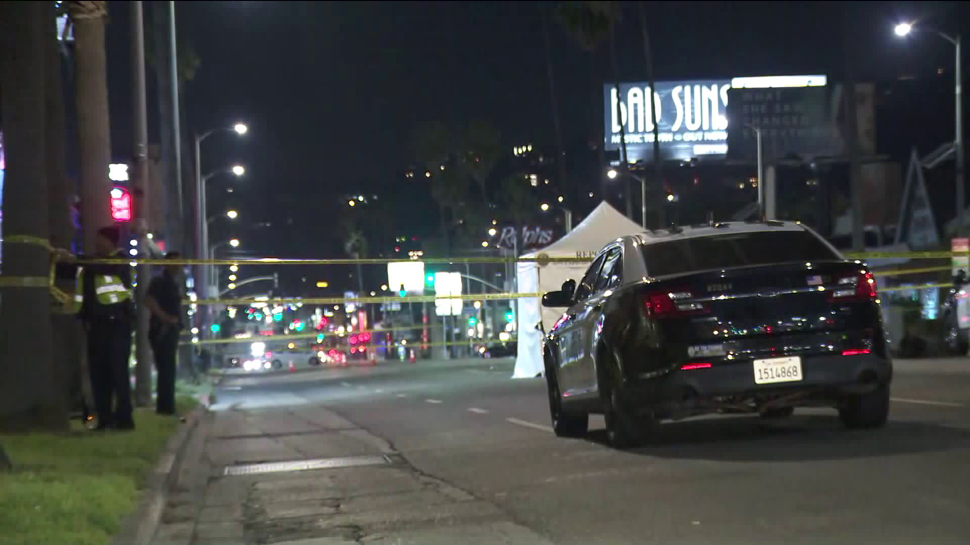 Police investigate a fatal hit-and-run crash in Hollywood on April 18, 2019. (Credit: KTLA)