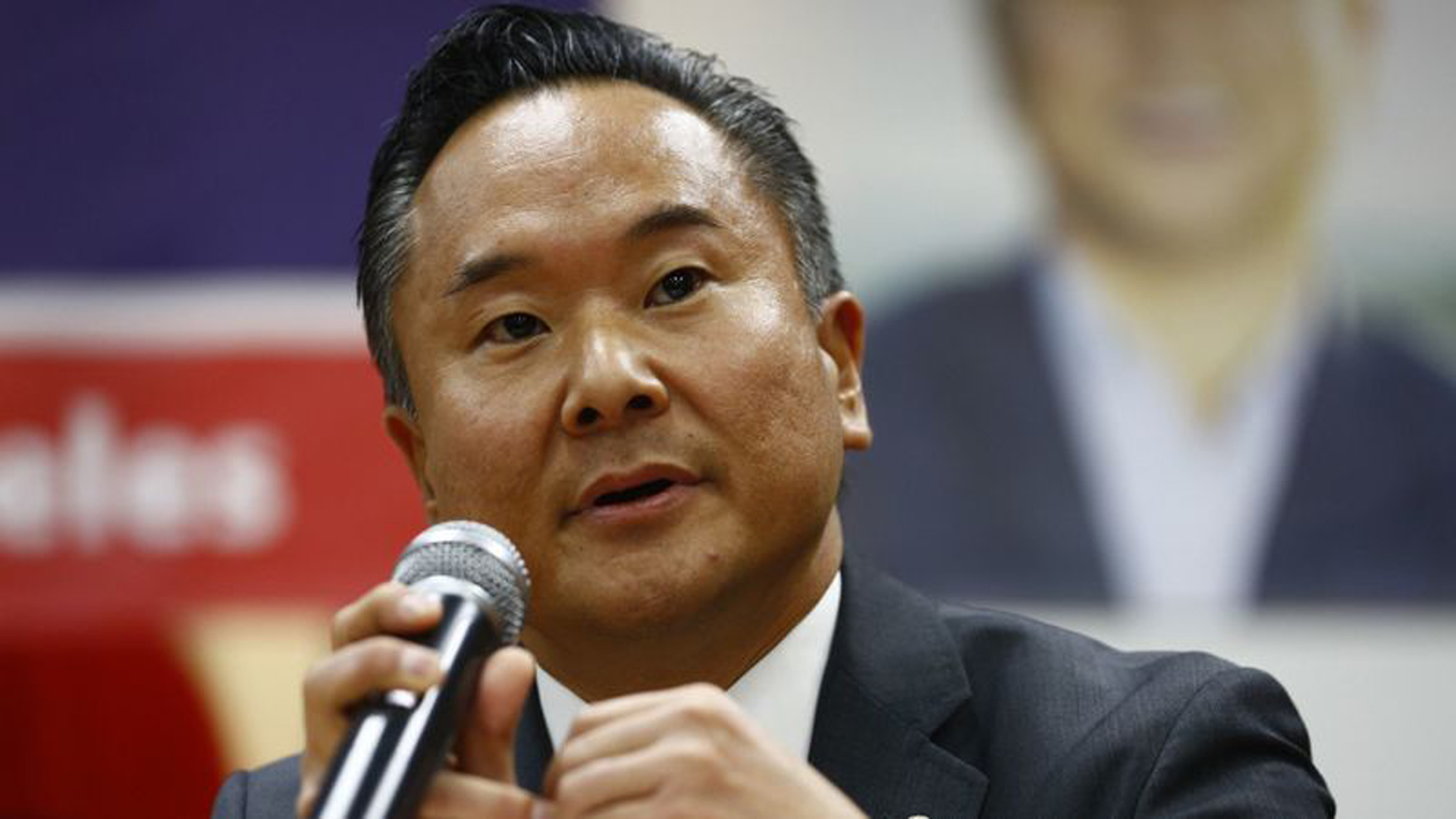 City Council District 12 candidate John Lee participates in a community forum hosted by the Korean American Federation of Los Angeles in March. (Credit: Kent Nishimura / Los Angeles Times)
