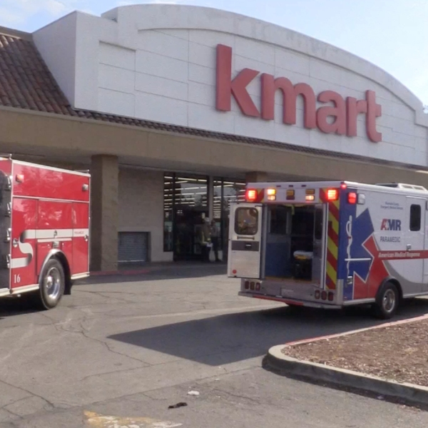 More than two dozen employees and patrons were treated by paramedics after two robbers discharged a canister of bear spray while stealing merchandise from a Kmart store in Jurupa Valley on April 20, 2019. (Credit: CasperNews)