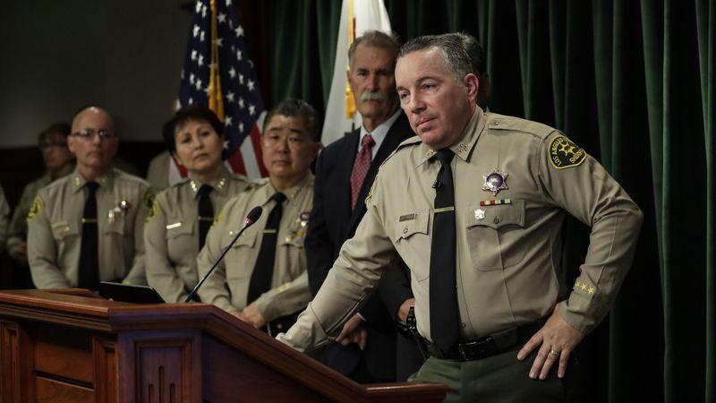 Los Angeles County Sheriff Alex Villanueva is seen at a Jan. 30, 2019, news conference. (Credit: Irfan Khan / Los Angeles Times)