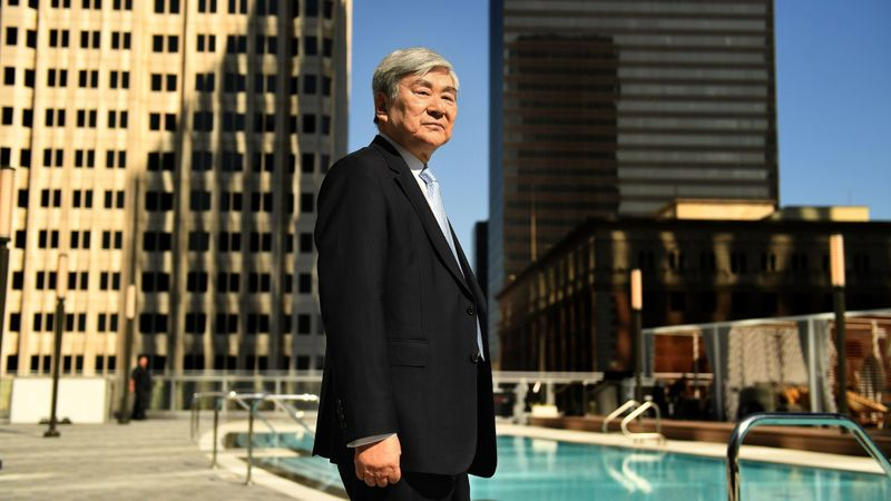 Yang-Ho Cho stands next to the pool at the Wilshire Grand Center in downtown Los Angeles in June 2017. (Credit: Wally Skalij / Los Angeles Times)