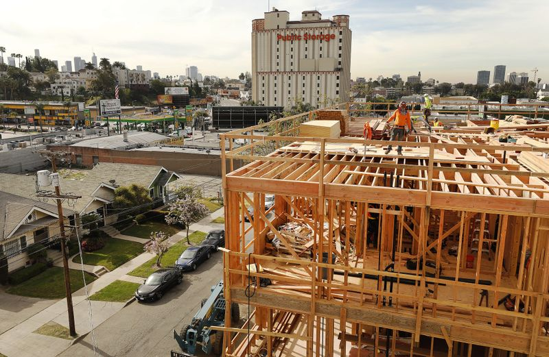 Construction is seen underway on North Madison Avenue for the PATH Metro Villas, which will provide housing and social services for formerly homeless individuals.(Credit: Al Seib / Los Angeles Times)