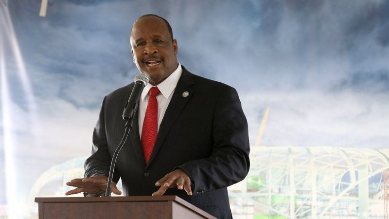 Inglewood Mayor James T. Butts Jr. attends the Canopy Shell Topping Out Celebration in Inglewood on April 15, 2019, to celebrate progress on L.A. Stadium, the future home of the Chargers and Rams. (Credit: Gary Coronado / Los Angeles Times)