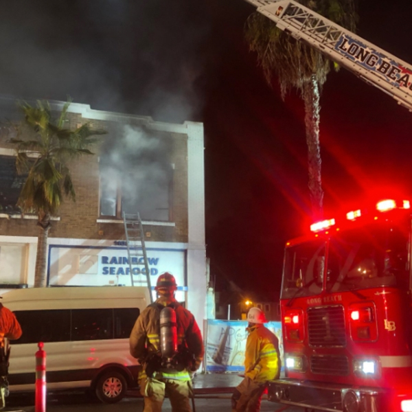 Firefighters respond to a burning apartment building in Long Beach on April 5, 2019. (Credit: Long Beach Fire Department.)