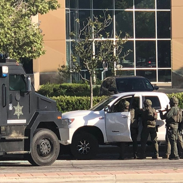 A SWAT team responded to the scene of a barricaded bank robbery suspect inside a vehicle in Rancho Santa Margarita on April 19, 2019. The suspect was ultimately found dead. (Credit: Orange County Sheriff's Department)