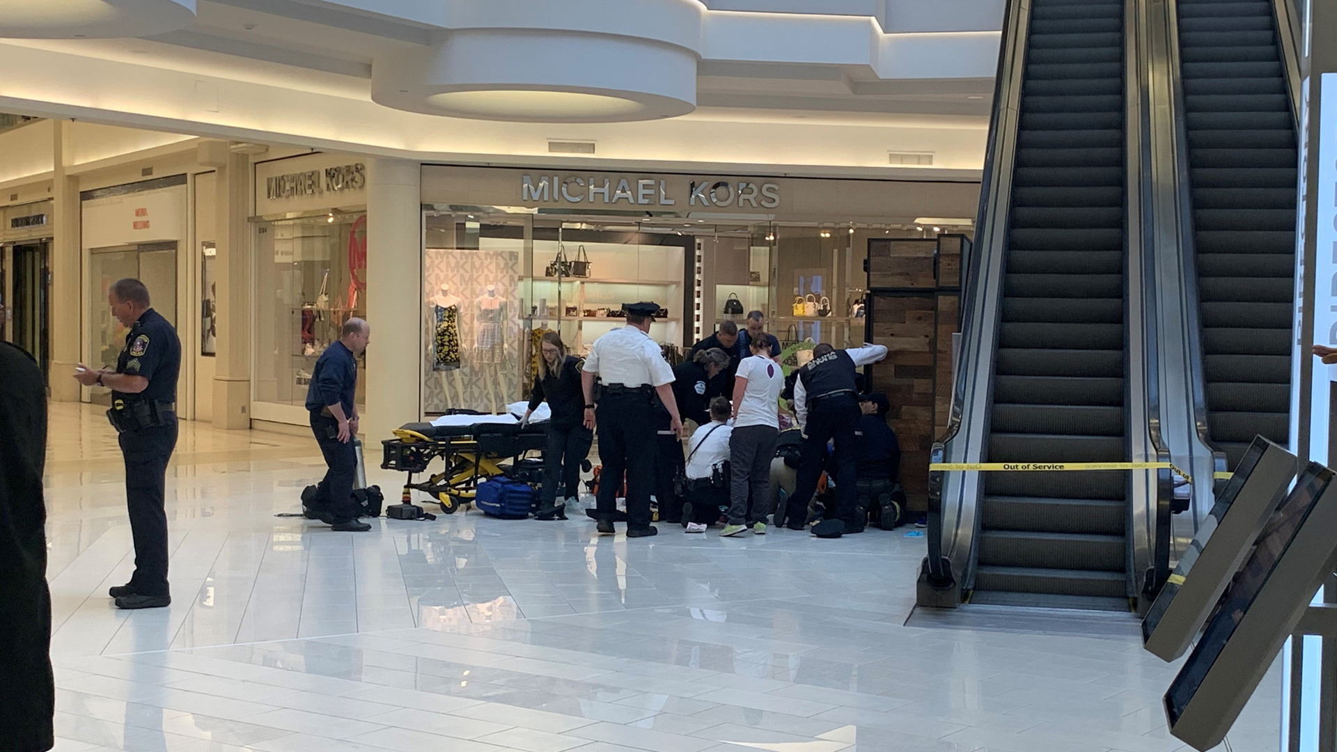 A child was rushed to a hospital after reportedly being thrown from a balcony at the Mall of America, and one person has been taken into custody. (Credit: WCCO)