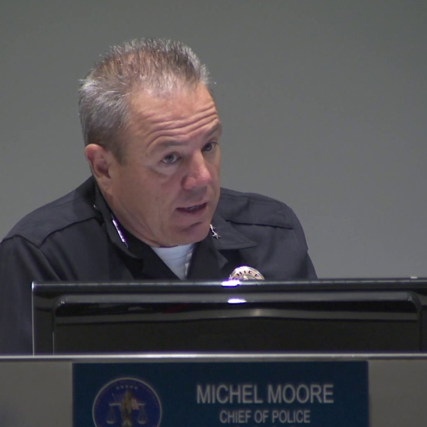 At a meeting with the Los Angeles Police Commission on April 9, 2019, Chief Michel Moore announced ending a data-based program intended to predict who's likely to commit crimes. (Credit: KTLA)
