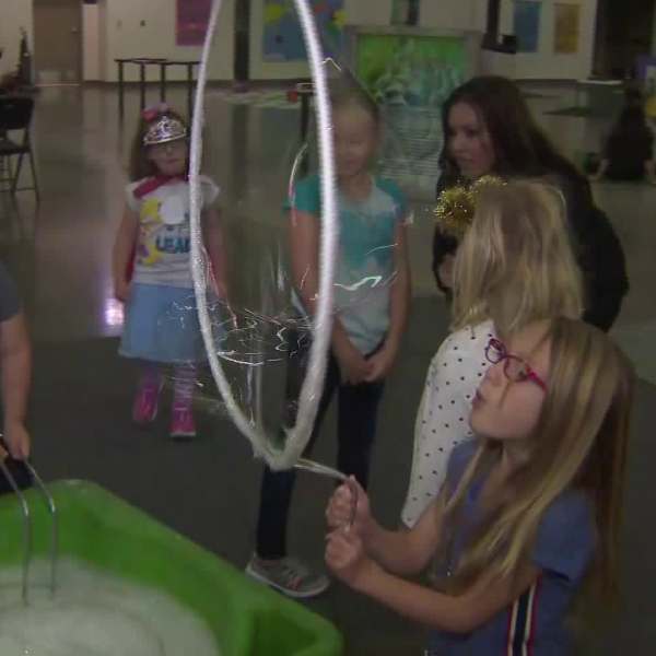 Children participate in STEAM activities offered at the Orange County Fair in Costa Mesa on April 13, 2019. (Credit: KTLA)