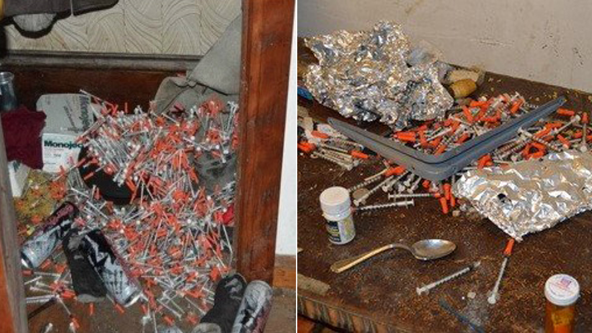 The Lorain Police Department released photos of some of the needles found in the abandoned home.