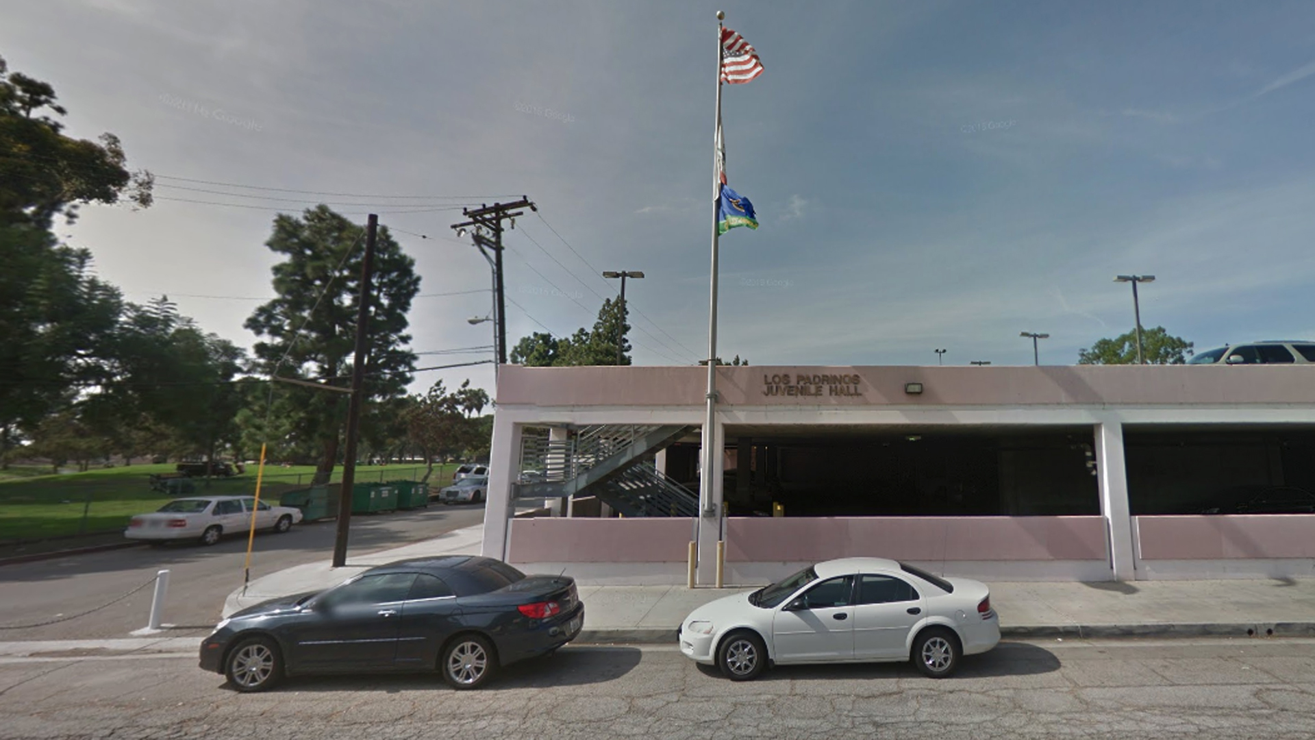 Los Padrinos Juvenile Hall in Downey is shown in a Street View image from Google Maps.