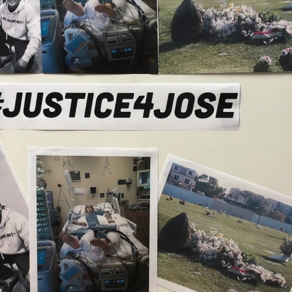 The family displayed this photo collage showing Jose Luis Ibarra Bucio as they held a news conference on April 10, 2019. (Credit: KTLA)