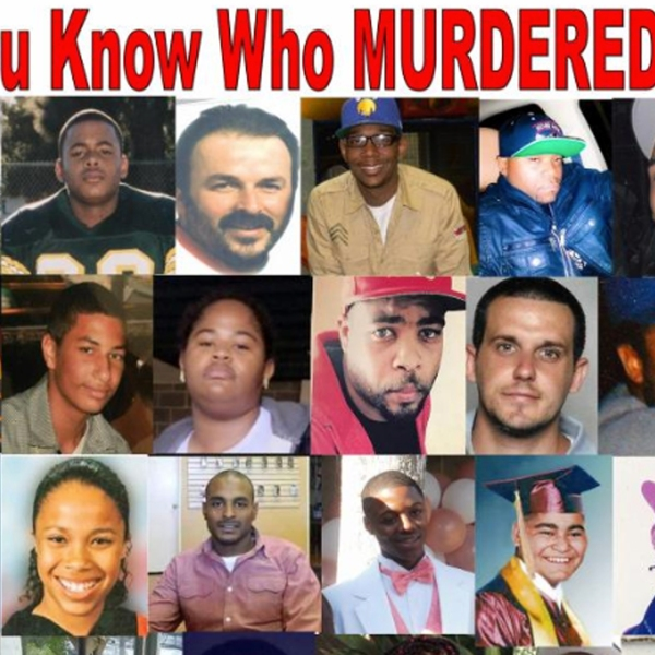 A poster features photographs of homicide victims whose cases have gone unsolved. (Credit: Justiceformurderedchildren.org)