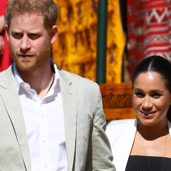 Prince Harry, Duke of Sussex and Meghan, Duchess of Sussex walk through the walled public Andalusian Gardens which has exotic plants, flowers and fruit trees during a visit on February 25, 2019 in Rabat, Morocco. (Photo by Tim P. Whitby/Getty Images)