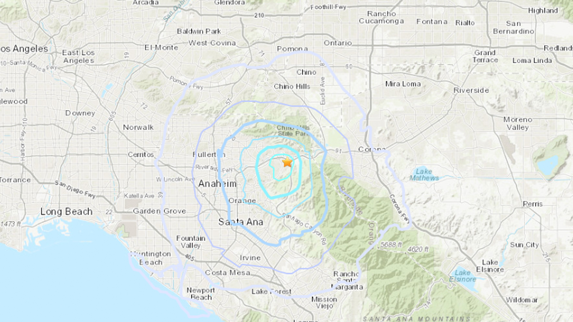 An earthquake struck near Yorba Linda on April 3, 2019. (Credit: USGS)