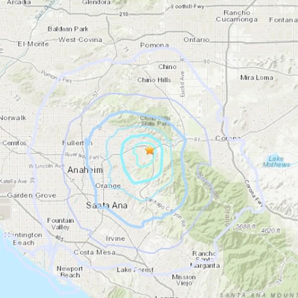 An earthquake struck near Yorba Linda on April 3, 2019. (Credit: USGS)