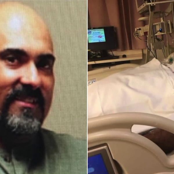 Rafael Reyna is seen, left, in an undated family photo and, right, hospitalized after being attacked at Dodger Stadium on March 29, 2019.