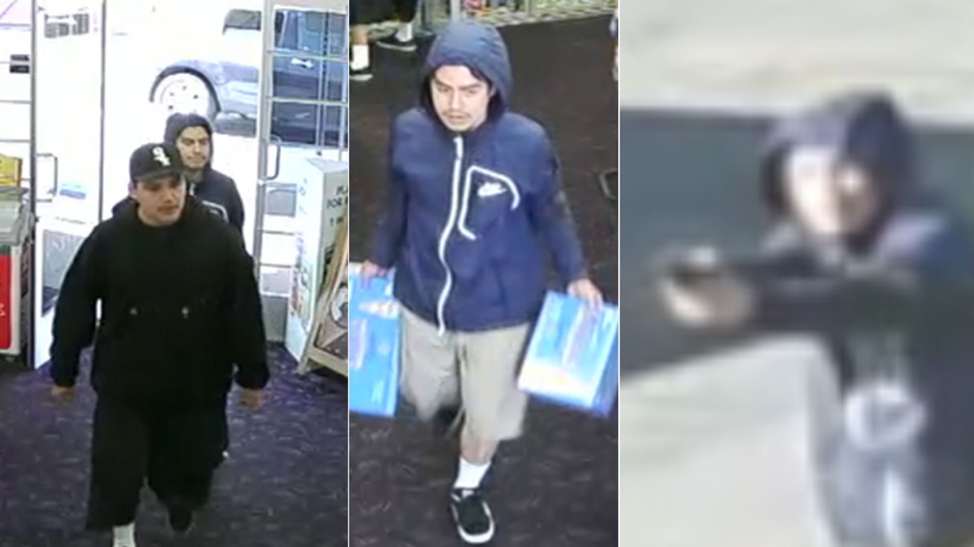 These surveillance images of a reported robbery at a Tustin liquor store on March 16, 2019, were released by police on April 8, 2019.