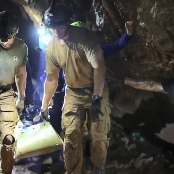 Medics work to rescue 12 boys and their soccer coach from a cave in Thailand on July 11, 2018. (Credit: Handout/AFP/Getty Images via CNN)