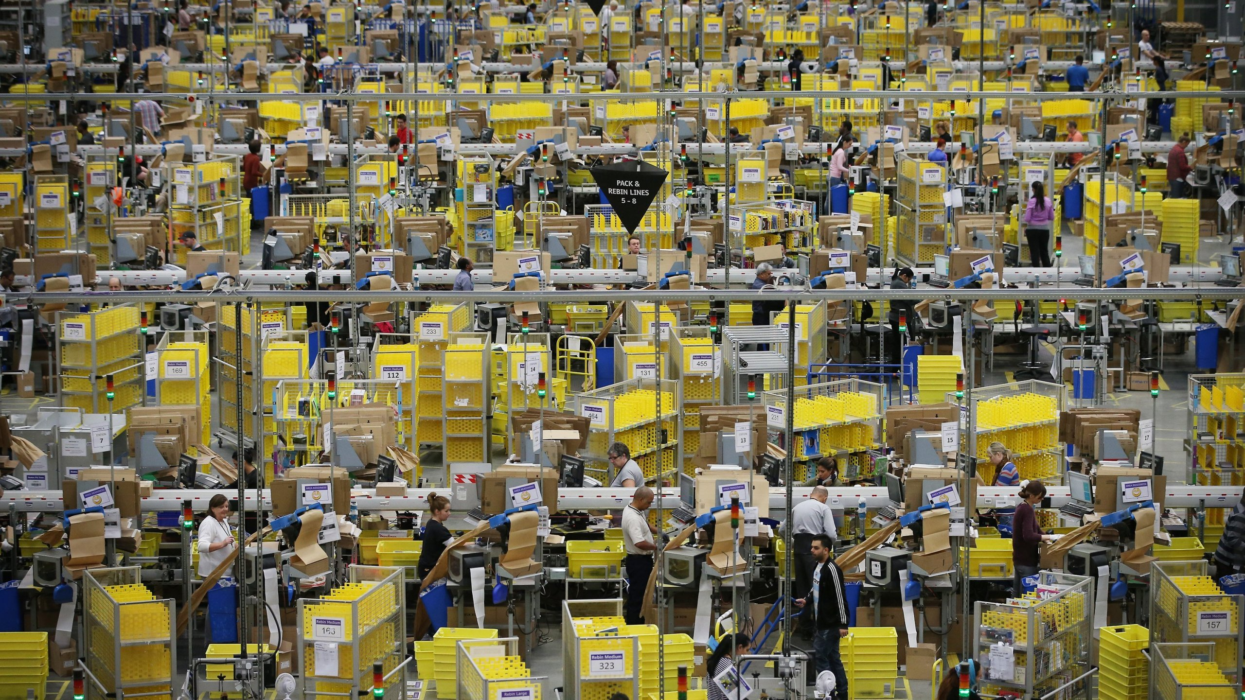 An Amazon warehouse is pictured. (Credit: CNN)