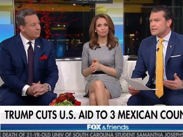 "This screenshot from a Fox News broadcast shows a headline erroneously referring to Honduras, El Salvador, and Guatemala as ""3 Mexican Counties."""