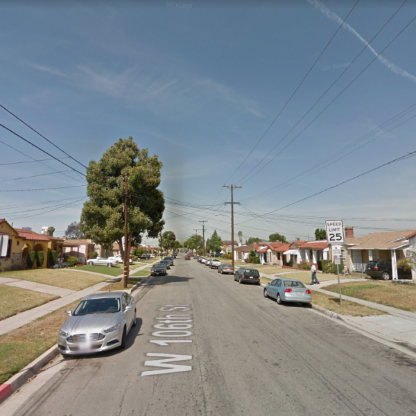 The 1600 block of W. 106th Street in South Los Angeles is seen in Google Maps Street view image on April 6, 2019.