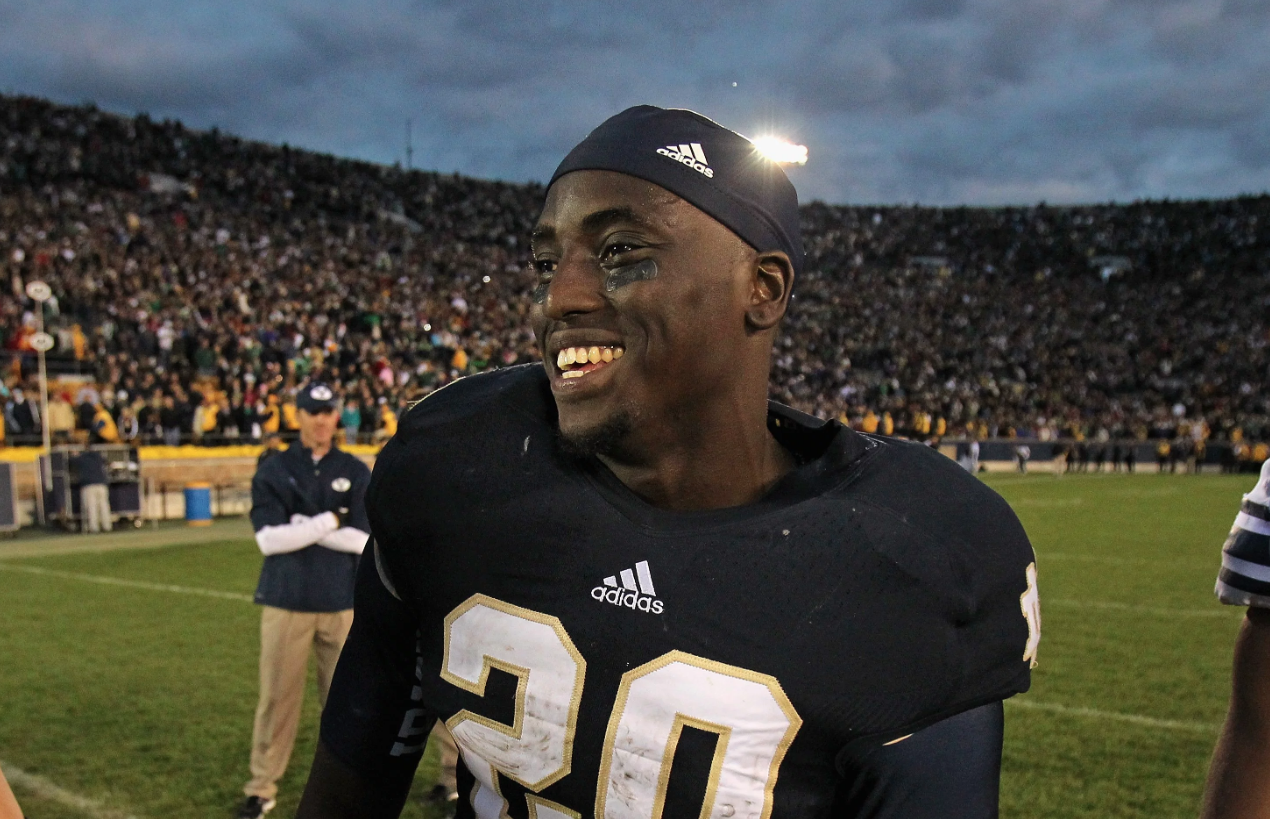Cierre Wood former #20 of the Notre Dame Fighting Irish after a win over the BYU Cougars at Notre Dame Stadium on October 20, 2012 in South Bend, Indiana. (Credit: Jonathan Daniel/Getty Images)