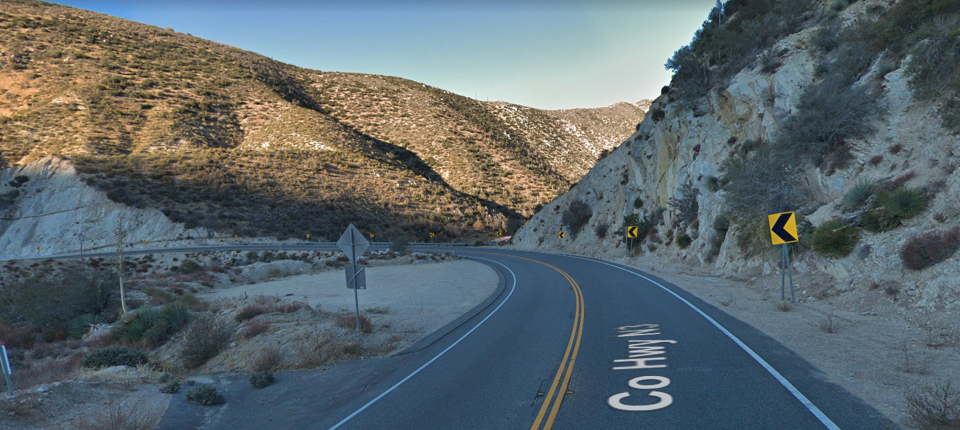 A section of the Angeles Forest Highway in Palmdale is seen in a Google Maps Street View image on April 28, 2019.