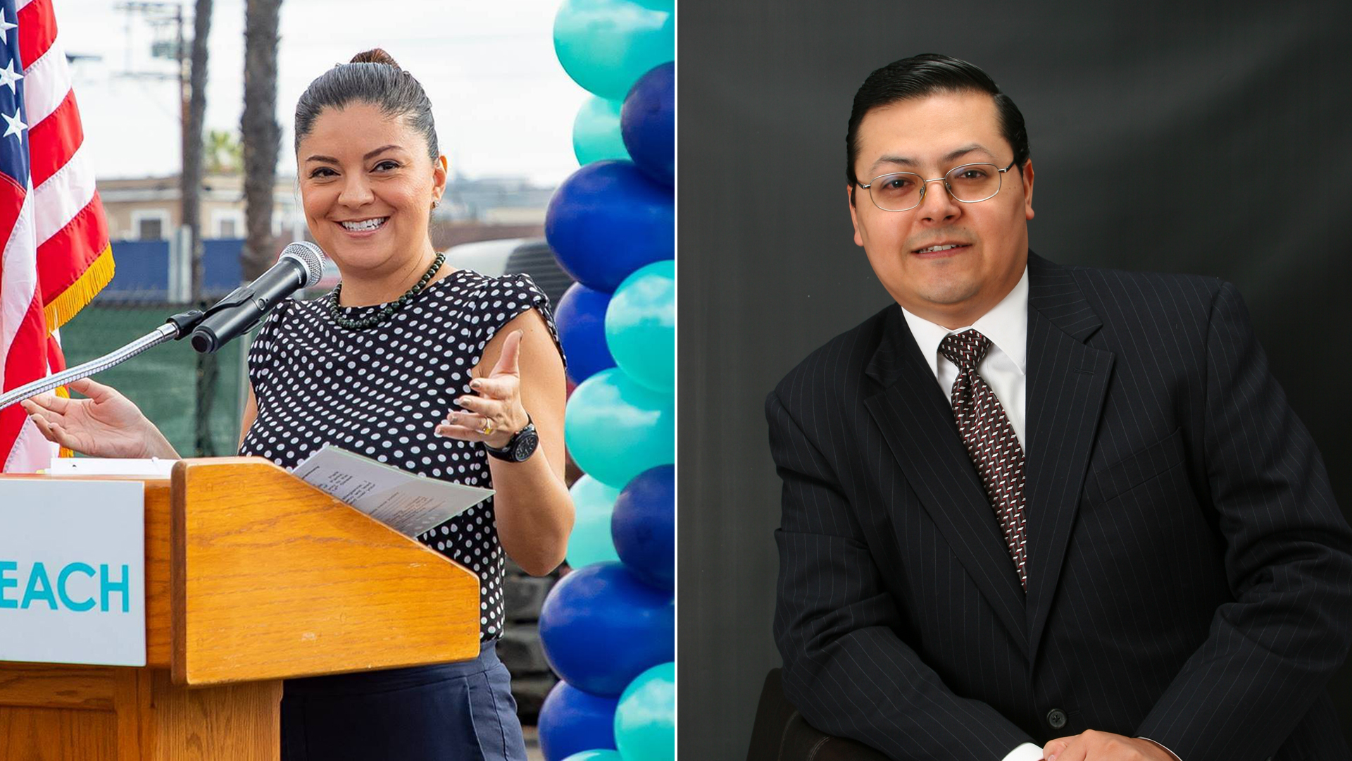 From left: Long Beach City Councilwoman Lena Gonzalez is seen in a photo posted to her Facebook page Oct. 10, 2018, and Cudahy Councilman Jack Guerrero is seen in an undated photo from his campaign website.