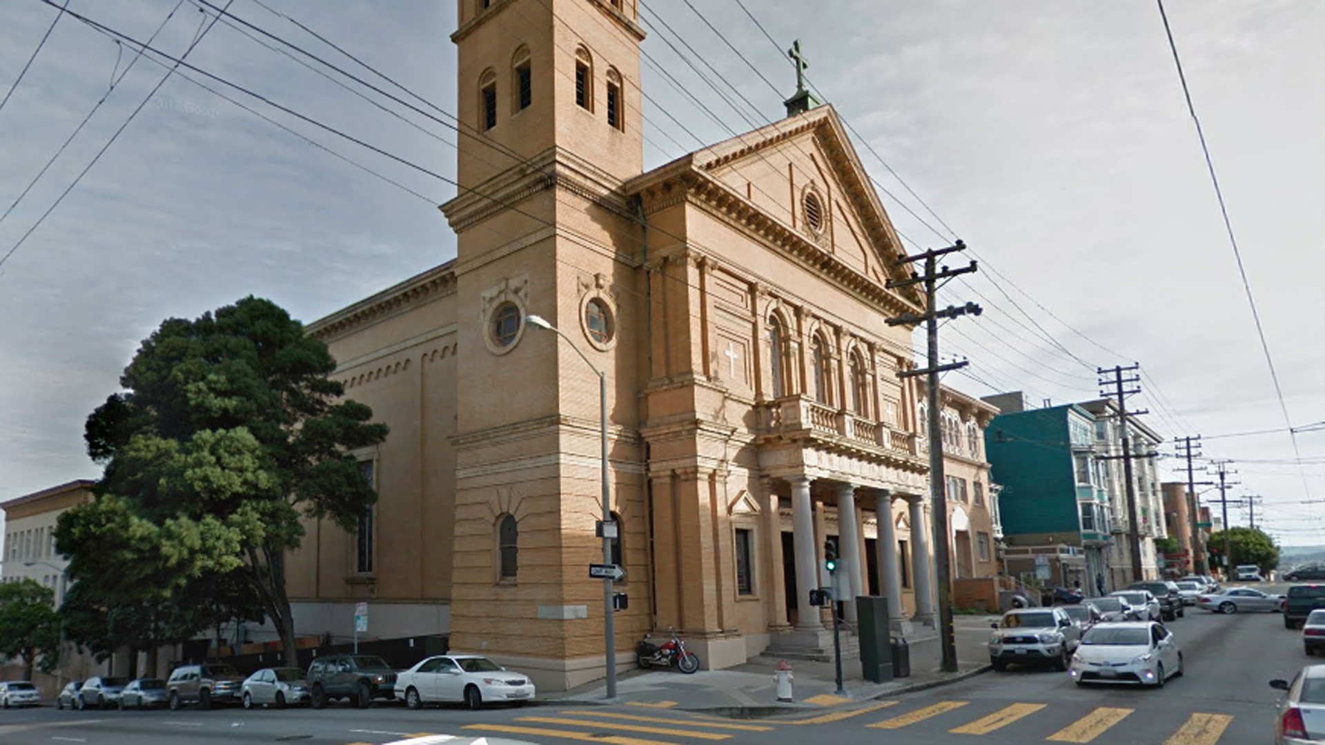 The attack took place outside the Church of 8 Wheels skating rink in San Francisco, seen in this Google Maps street view image.