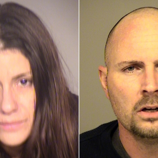 From left: Elise Main, 38, and Joshua Draper, 39, are seen in booking photos released April 8, 2019, by the Ventura County Sheriffs Department.