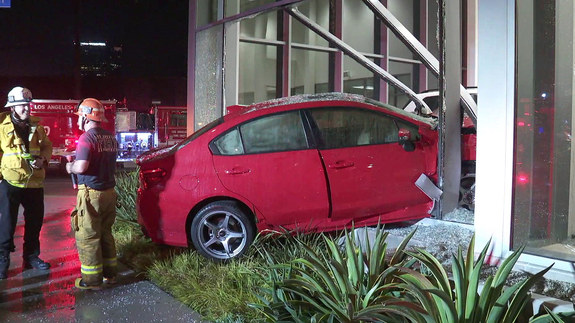 A car crashed into a car dealership in Toluca Lake on April 24, 2019. (Credit: KTLA)