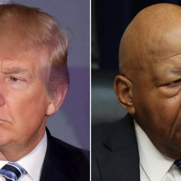 Donald Trump, left, delivers remarks before a ribbon cutting ceremony at the new Trump International Hotel on Oct. 26, 2016 in Washington, D.C. Elijah Cummings (D-MD), right, conducts a hearing on March 14, 2019 in Washington, D.C. (Credit: Getty Images)