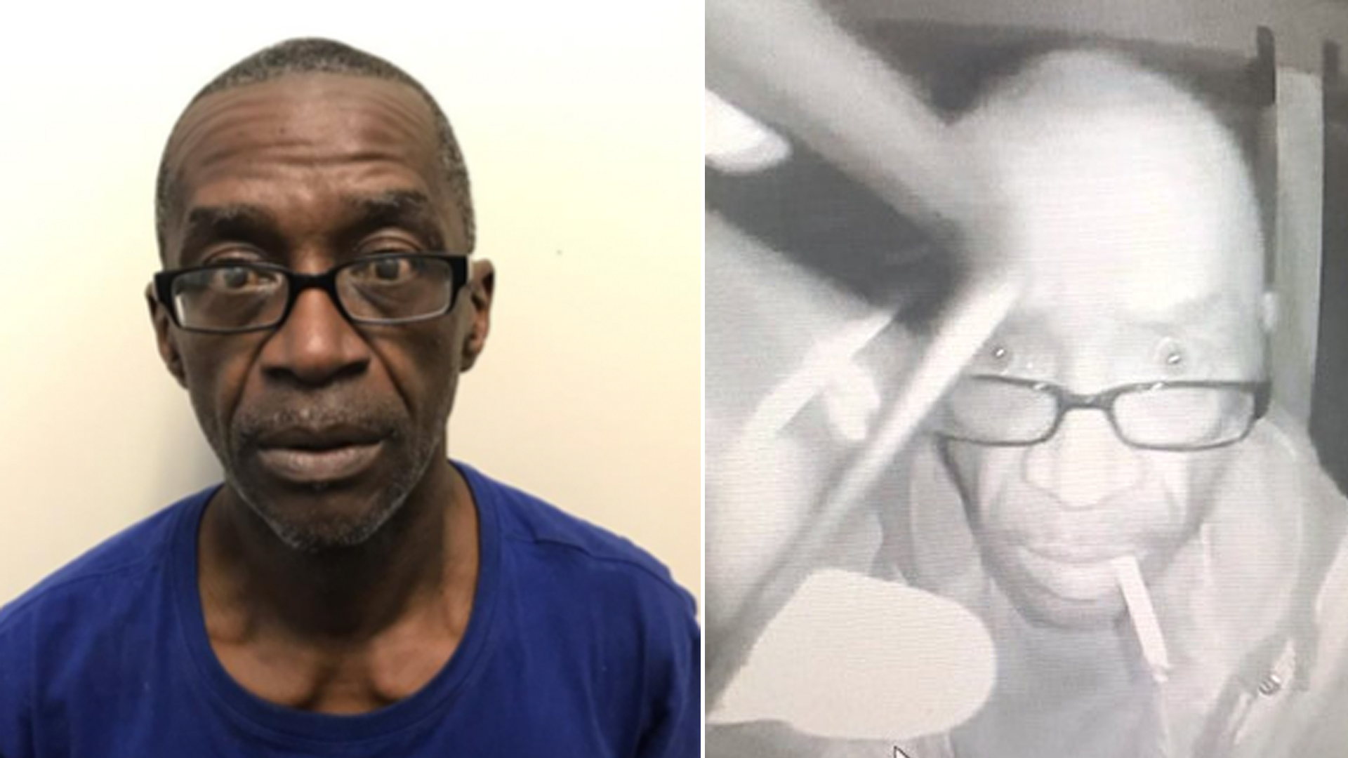 Kevin Howard Hughes, 53, is seen in an undated booking photo provided by the Hemet Police Department on the left, and the suspect is seen in surveillance video on the night of the burglary on April 20, 2019 in Hemet, on the right.