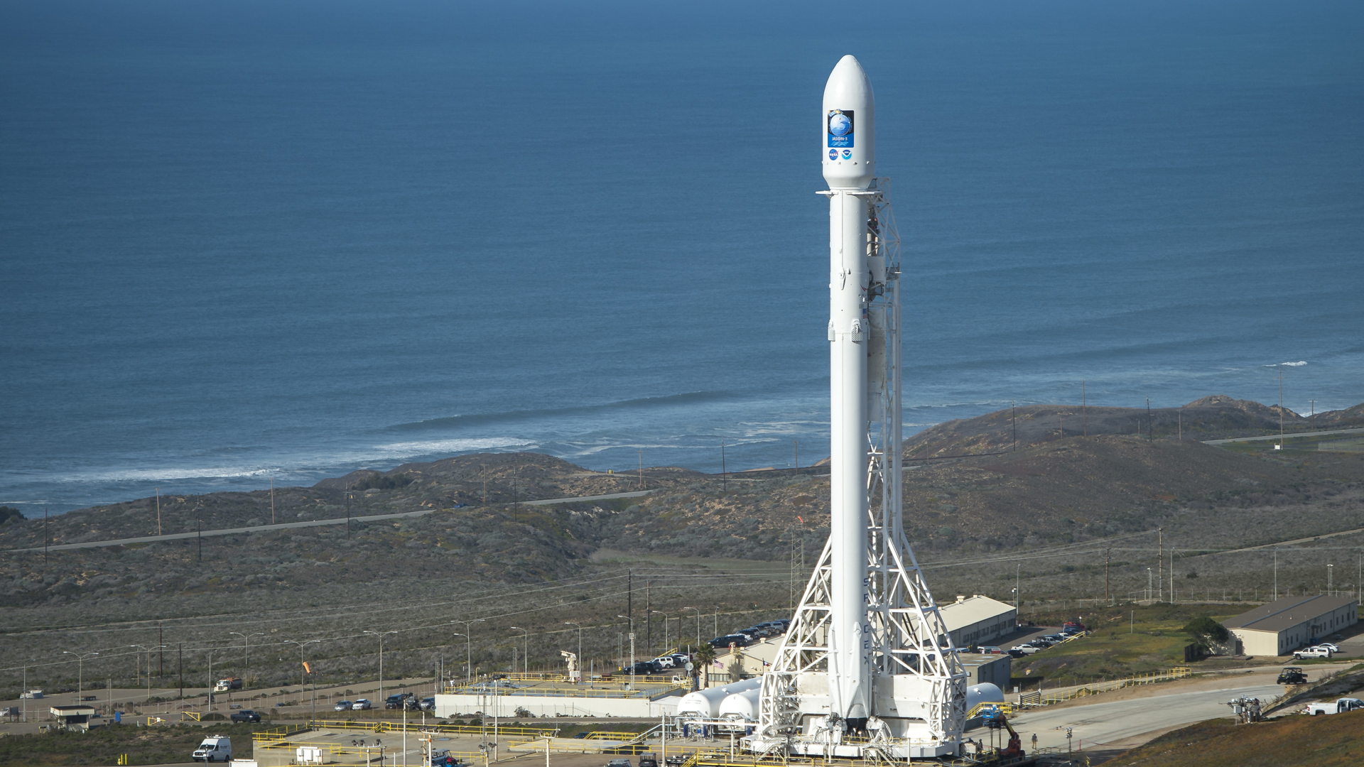 In this handout provided by NASA, the SpaceX Falcon 9 rocket is seen at Vandenberg Air Force Base Space Launch Complex 4 East on January 16, 2016. (Credit: Bill Ingalls/NASA via Getty Images)