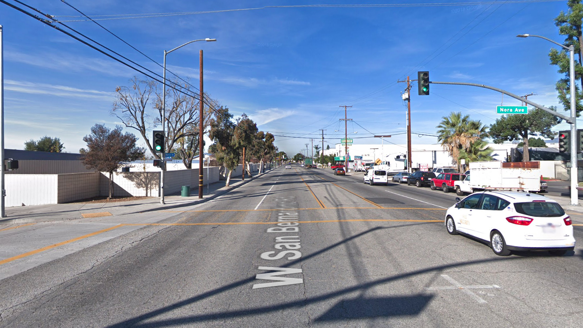 The intersection of San Bernardino Road and Nora Avenue, as pictured in a Google Street View image in February of 2018.