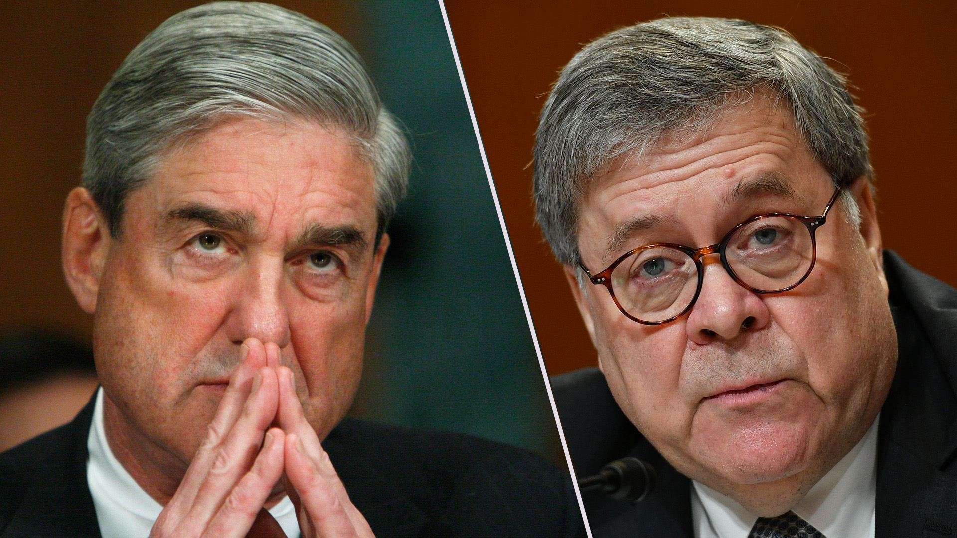 Special Counsel Robert Mueller and Attorney General William Barr are pictured side-by-side. (Credit: Ann Heisenfelt/MANDEL NGAN/AFP/Getty Images)