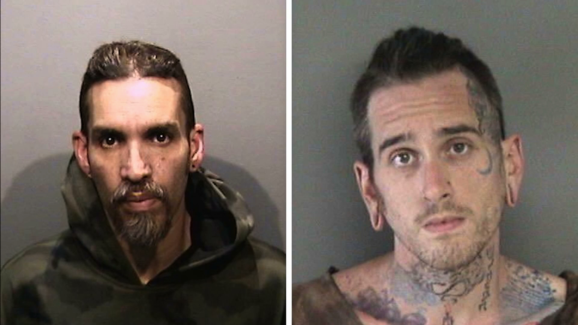 Derick Almena, left, and Max Harris are seen in 2017 booking photos released by the Alameda County Sheriff's Office. (Credit: KGO via CNN)