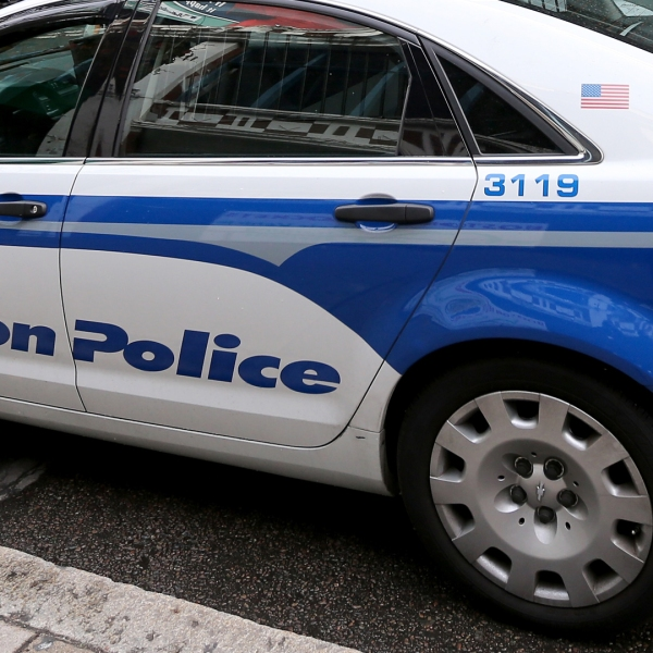 A Boston police car is seen in this file photo from on October 30, 2013. (Credit: Rob Carr/Getty Images)